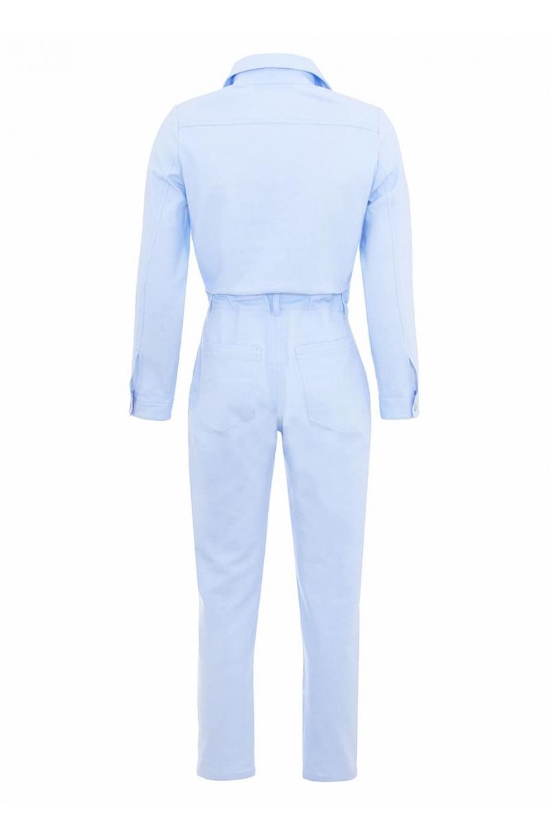 Cotton jumpsuit in baby blue color