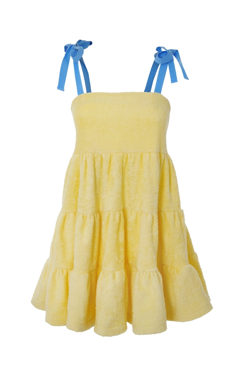Short terry cloth dress with ruffles in pale yellow