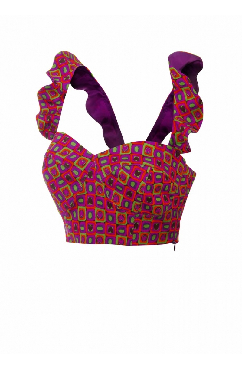 Crop top with frilled straps