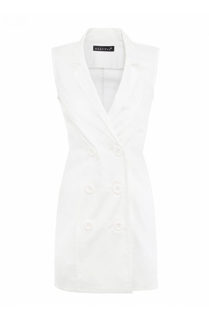 Short sleevless blazer dress in white color