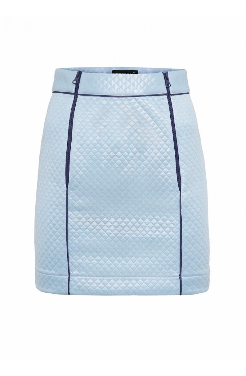 Falda corta con cremalleras de plástico de color zarco