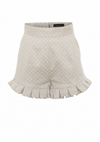 High- waisted cotton shorts with pleated details