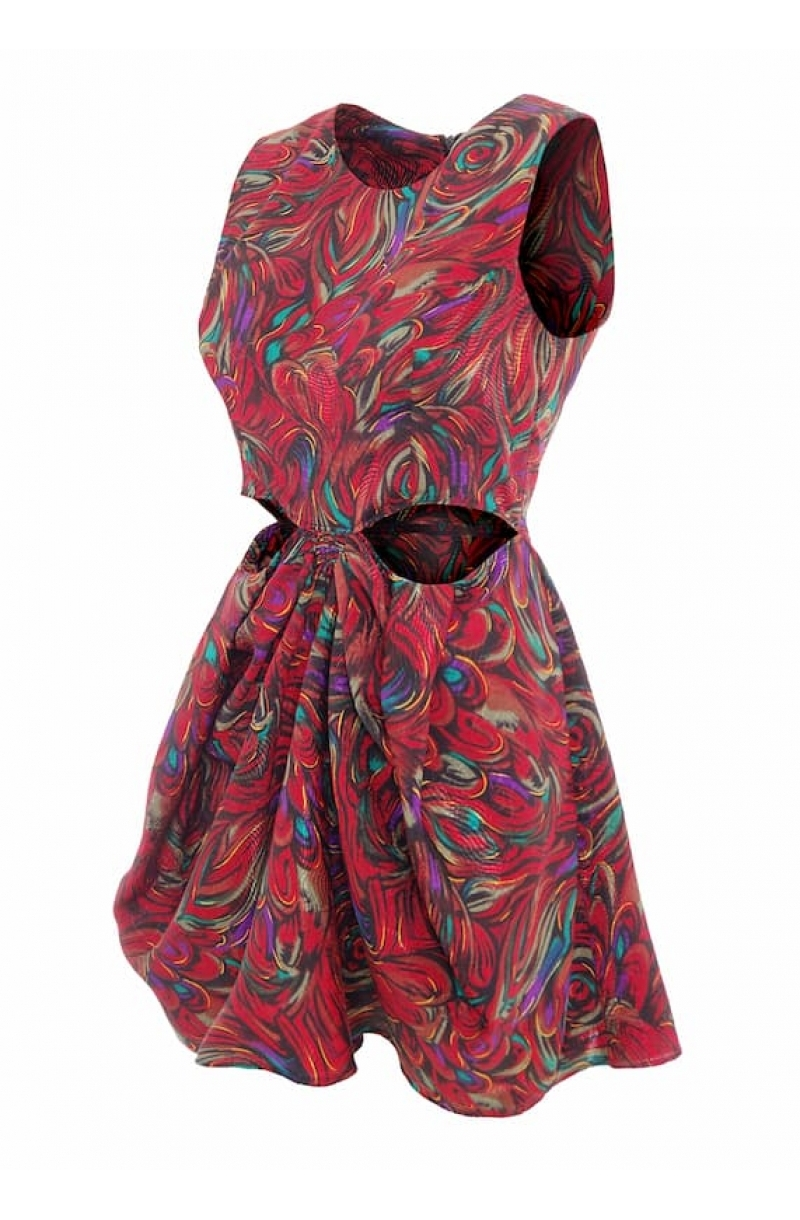 Short sleeveless colorful dress with cut- out elements