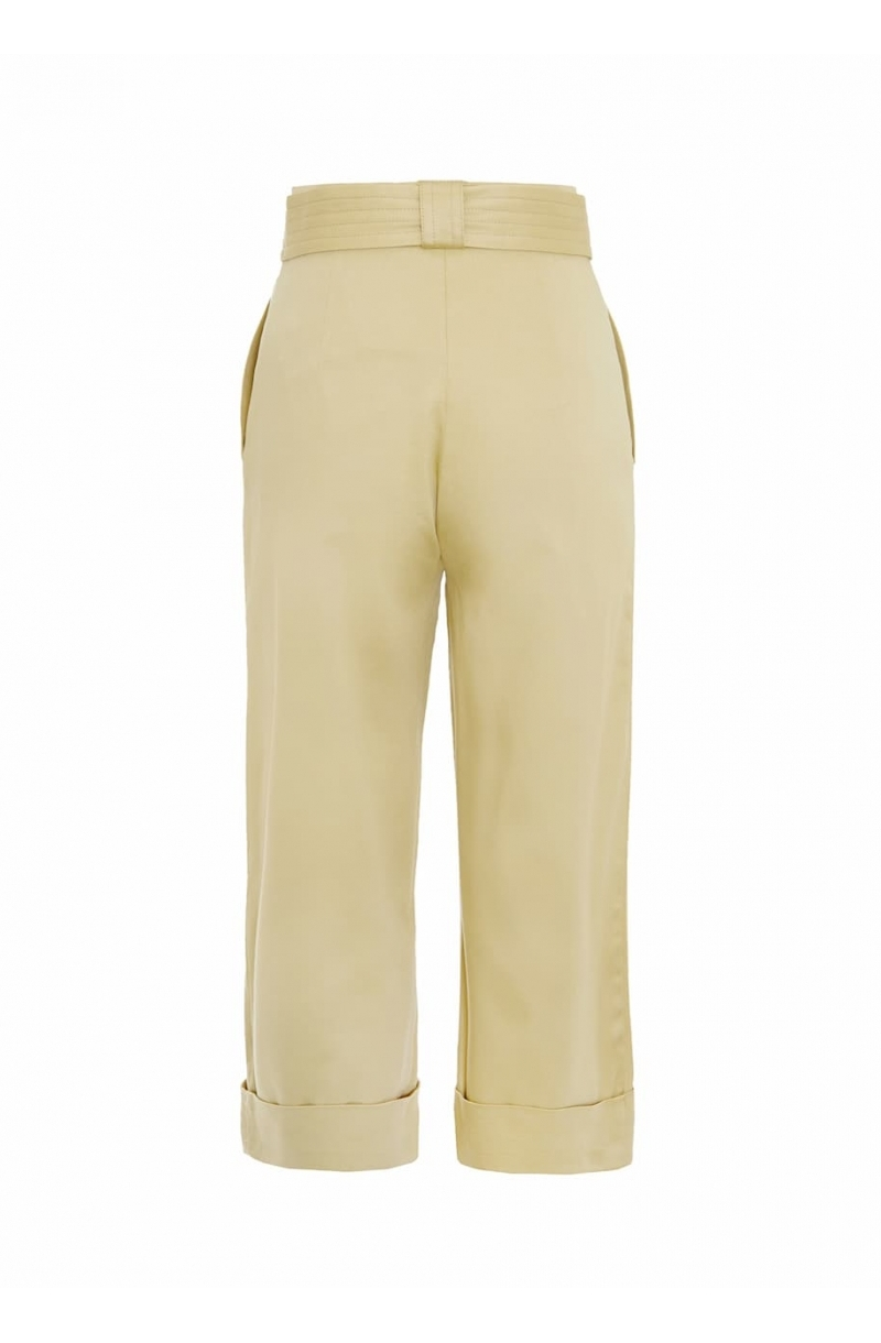 Mid- lenght cotton beigetrousers with high- waist
