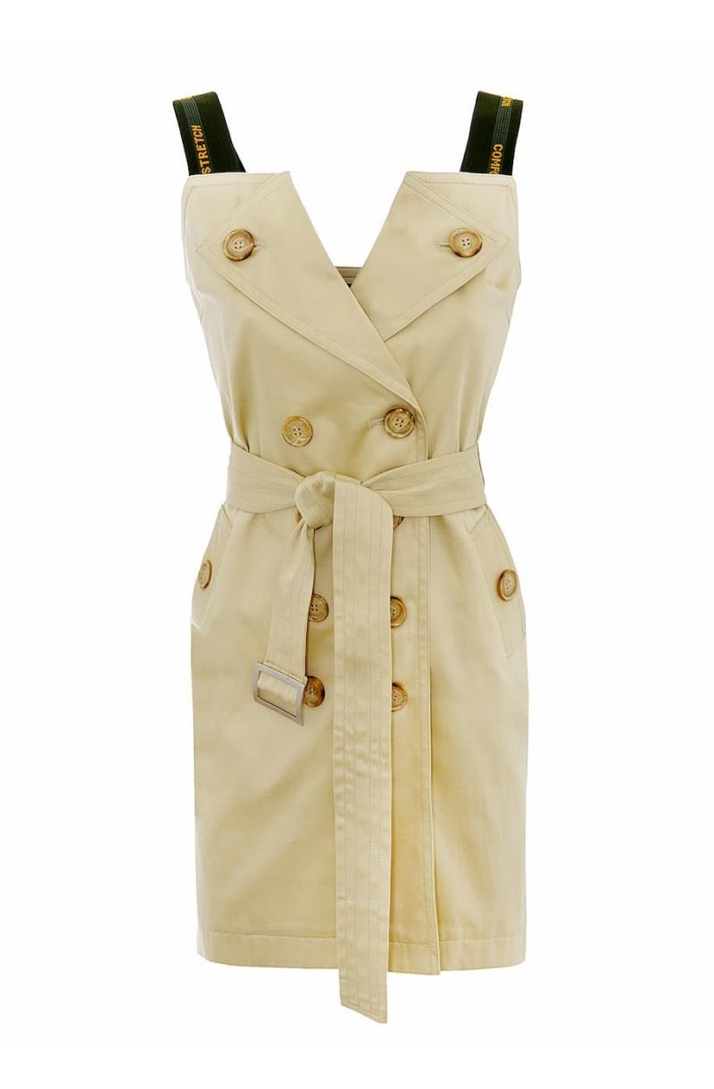 Бежова къса рокля тип шифер с еластични презрамки