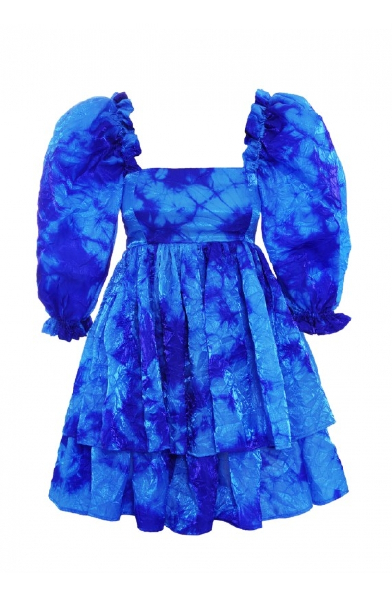 Short blue dress with high waist and buffan sleeves