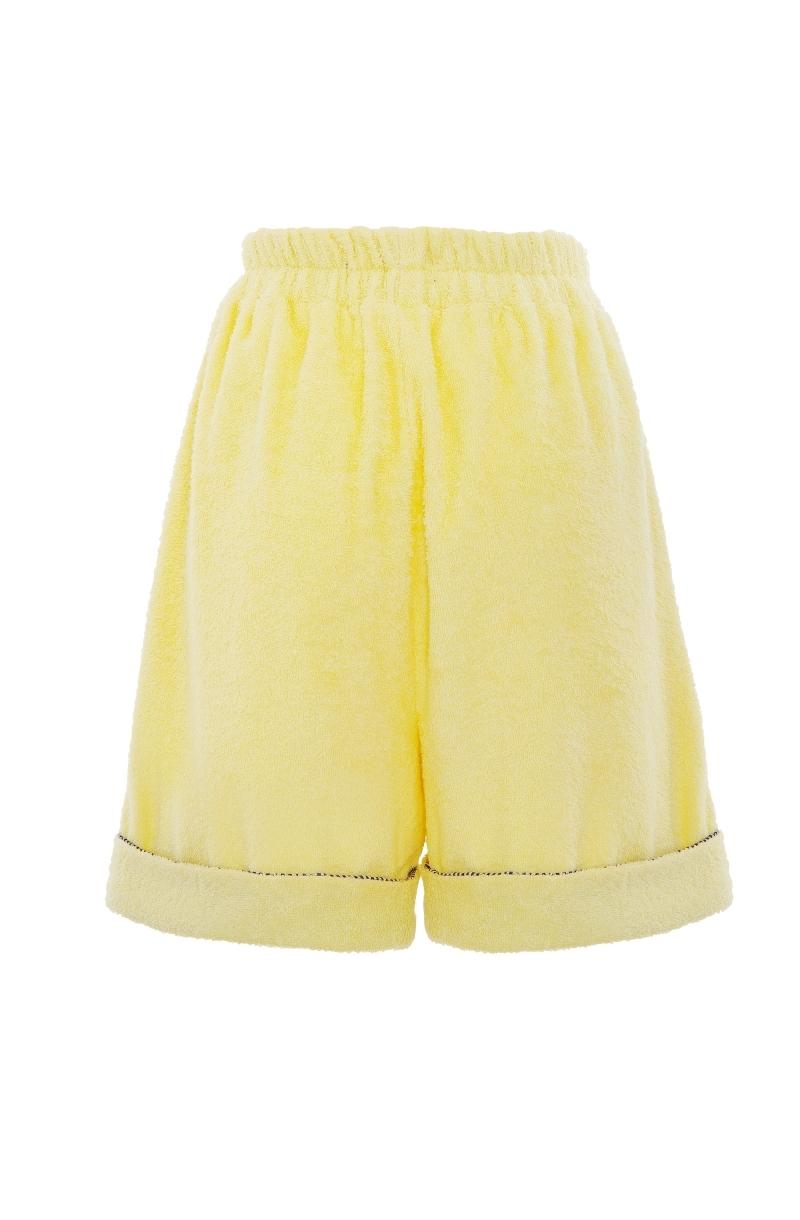 Унисекс къси панталони от хавлиен плат в бледо жълт цвят