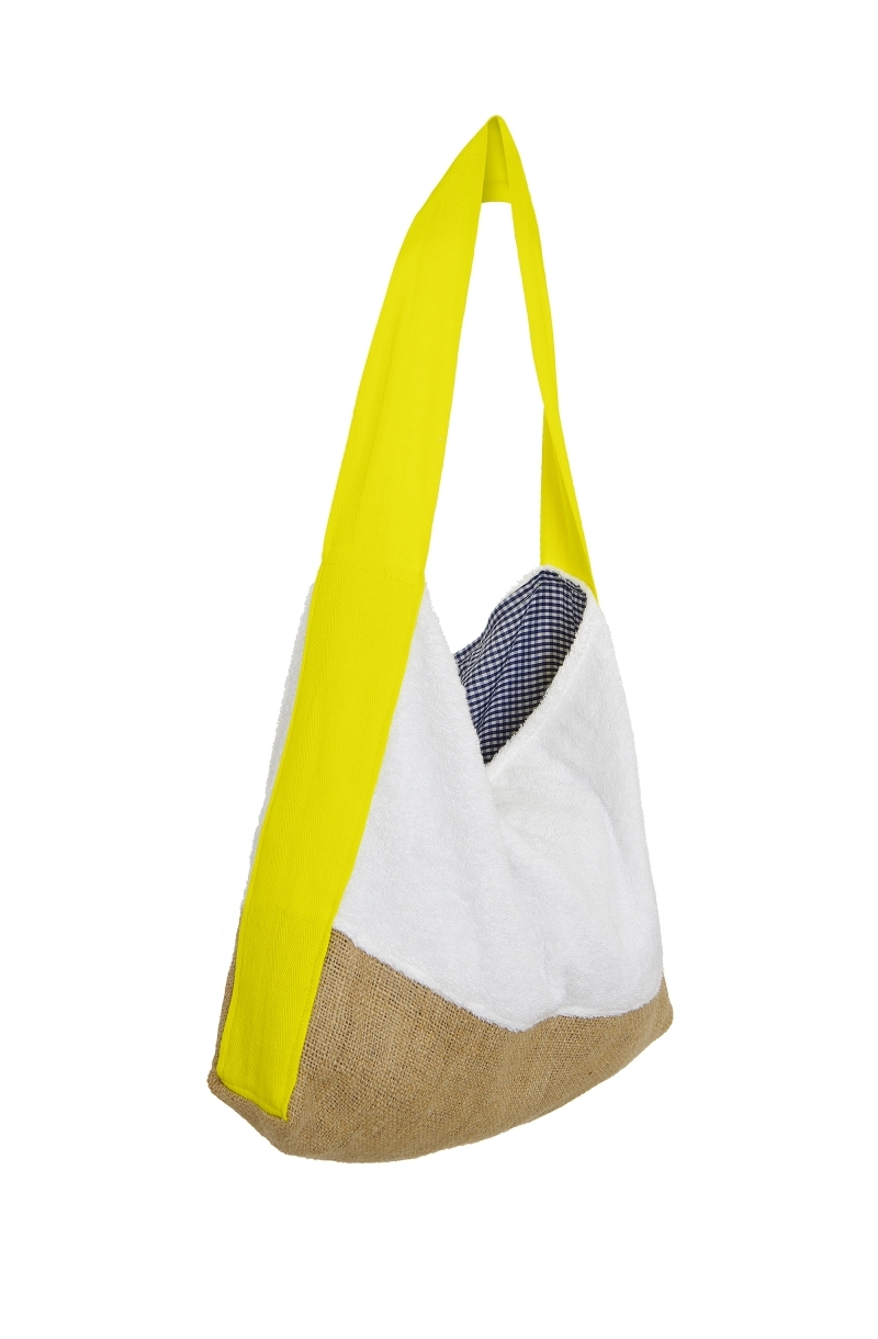Terry cloth hobo bag in white