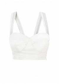White cotton crop top with elastic straps