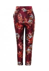 Панталон от жакард с висока талия и принт на цветя