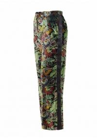 High waist velvet  straight-leg printed trousers
