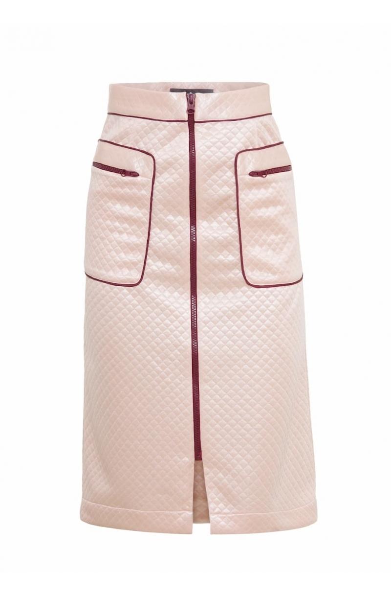 Falda A- line con longitud media de color rosa