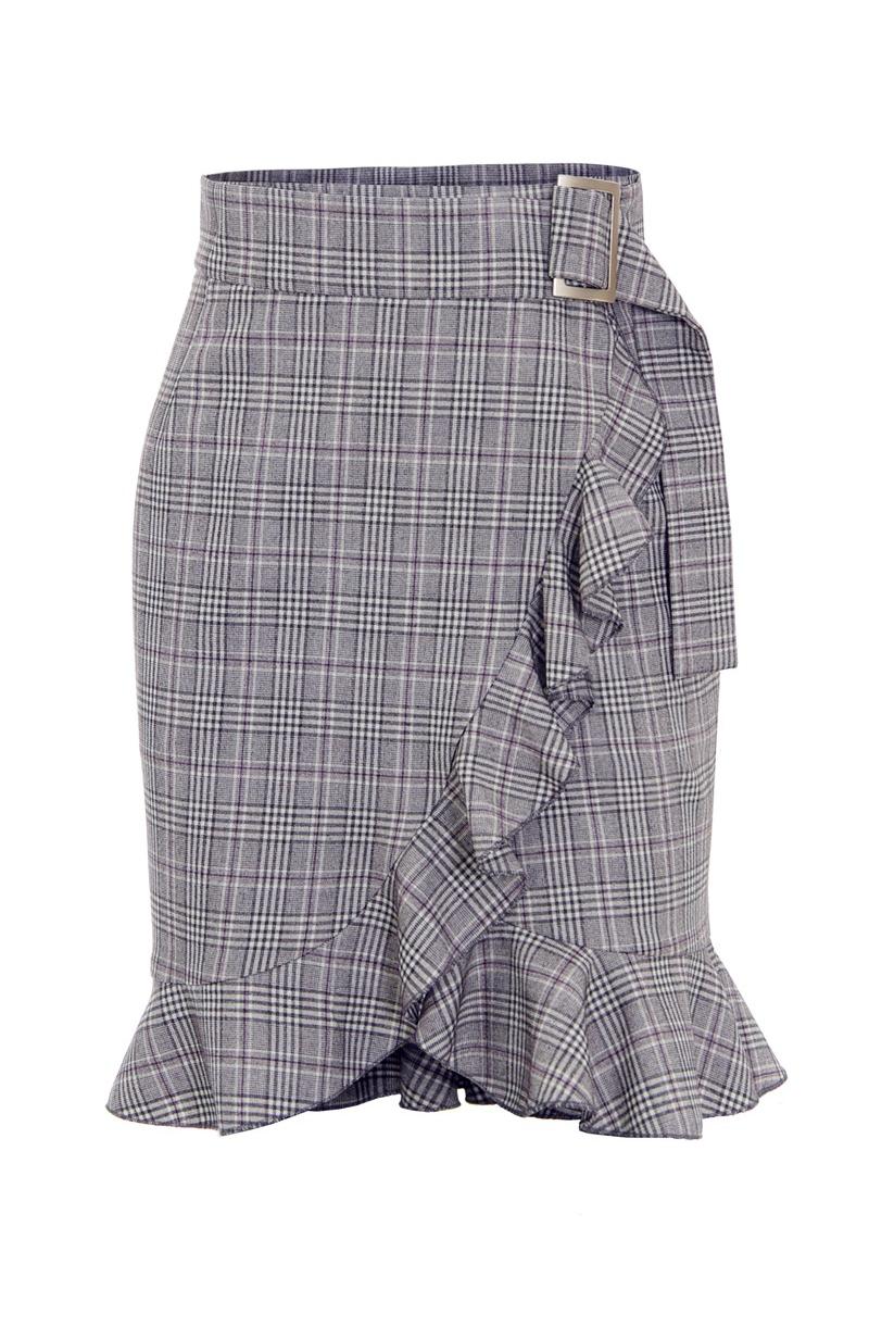 Falda decuandros con cintura alta y volantes