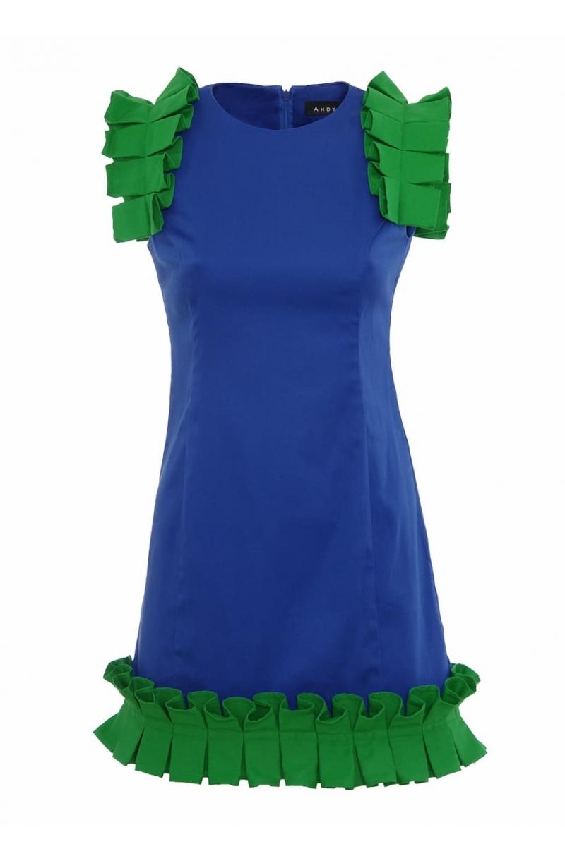Къса рокля с детайли от бокс плисе в син цвят