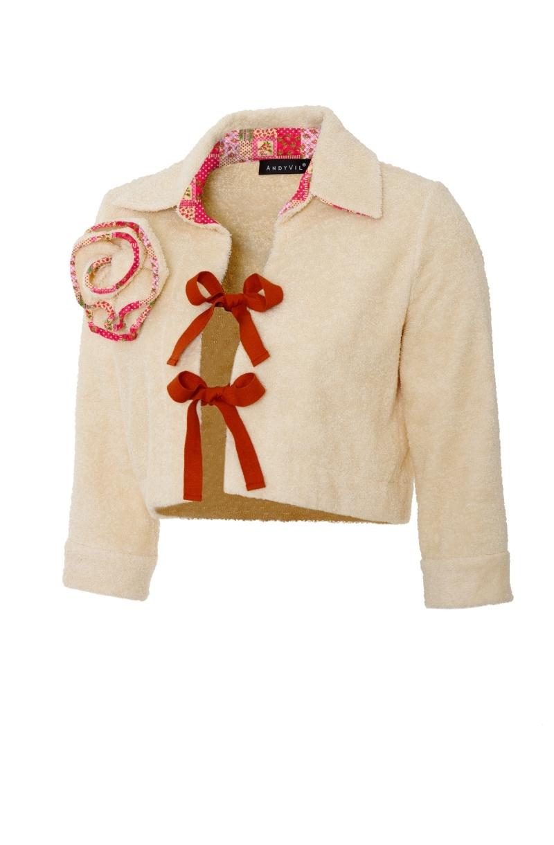 Къса риза от хавлиен плат с контрастни връзки