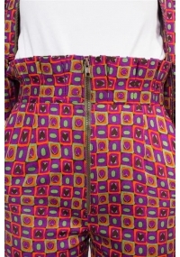 Colorful fitted cotton pants with high- waist