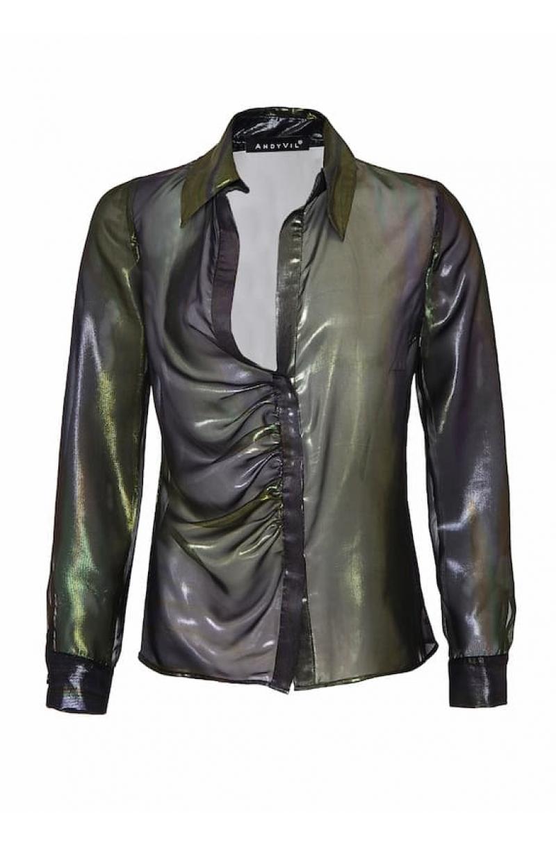 Camisa de gasa negra con brillo y corte asimétrico