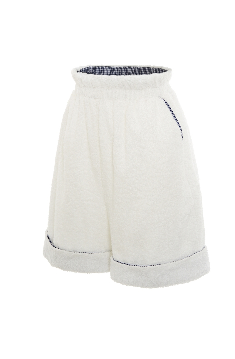 Unisex Terry cloth shorts in white
