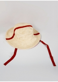 Terry cloth hat with a brim in peach