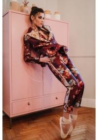 Sleevelessjacquard blouse with peplum and flower's print