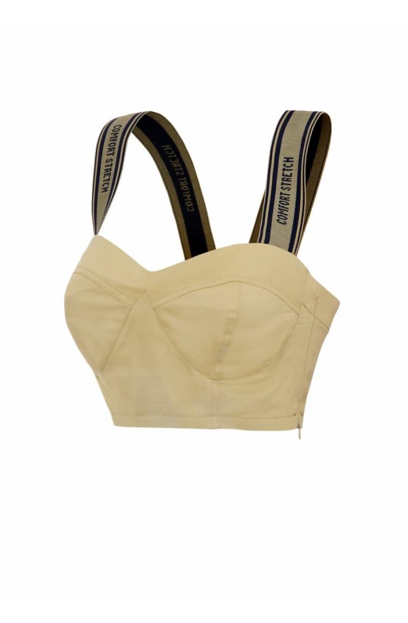 Beige cotton crop top with elastic straps