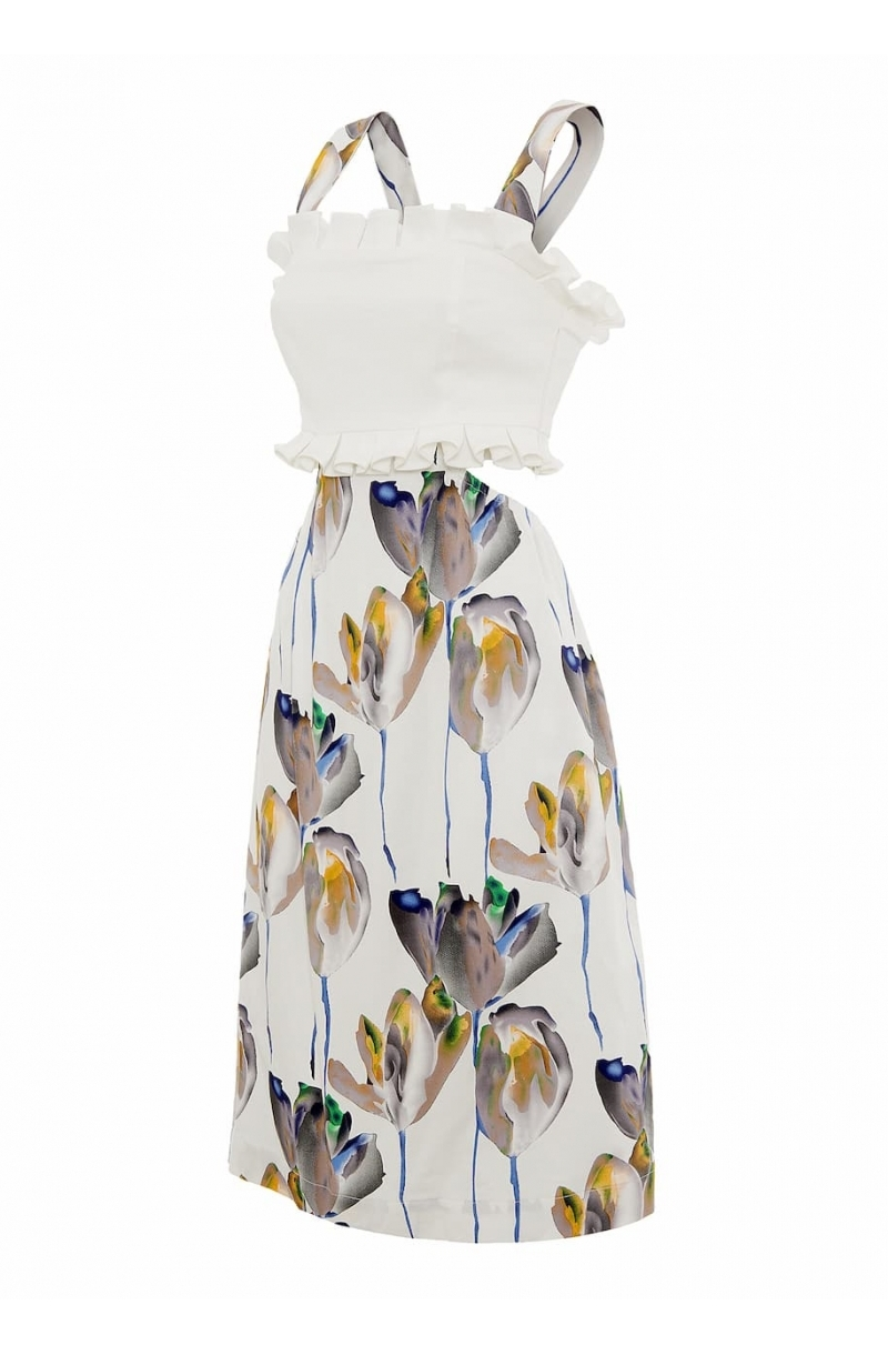 Printed mid-lenght dress