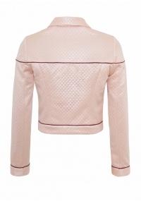 Chaqueta corta con cremalleras de plastico de color rosa