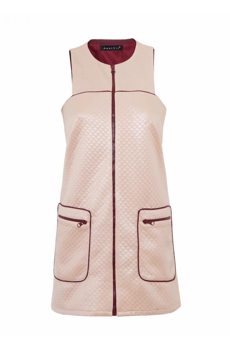 Къса рокля с А- образен силует в розов цвят