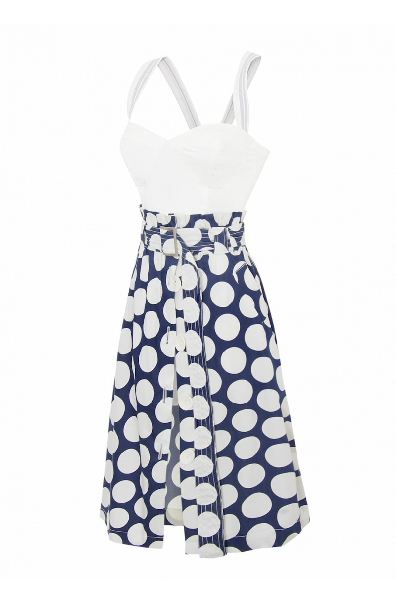 Paper bag mid- lenght skirt with dot's print