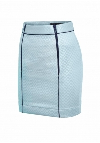 Short skirt with plastic zippers in baby blue color