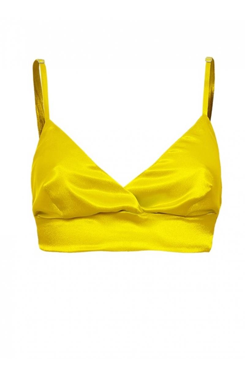 Bralette triangular suave del saténen color amarillo