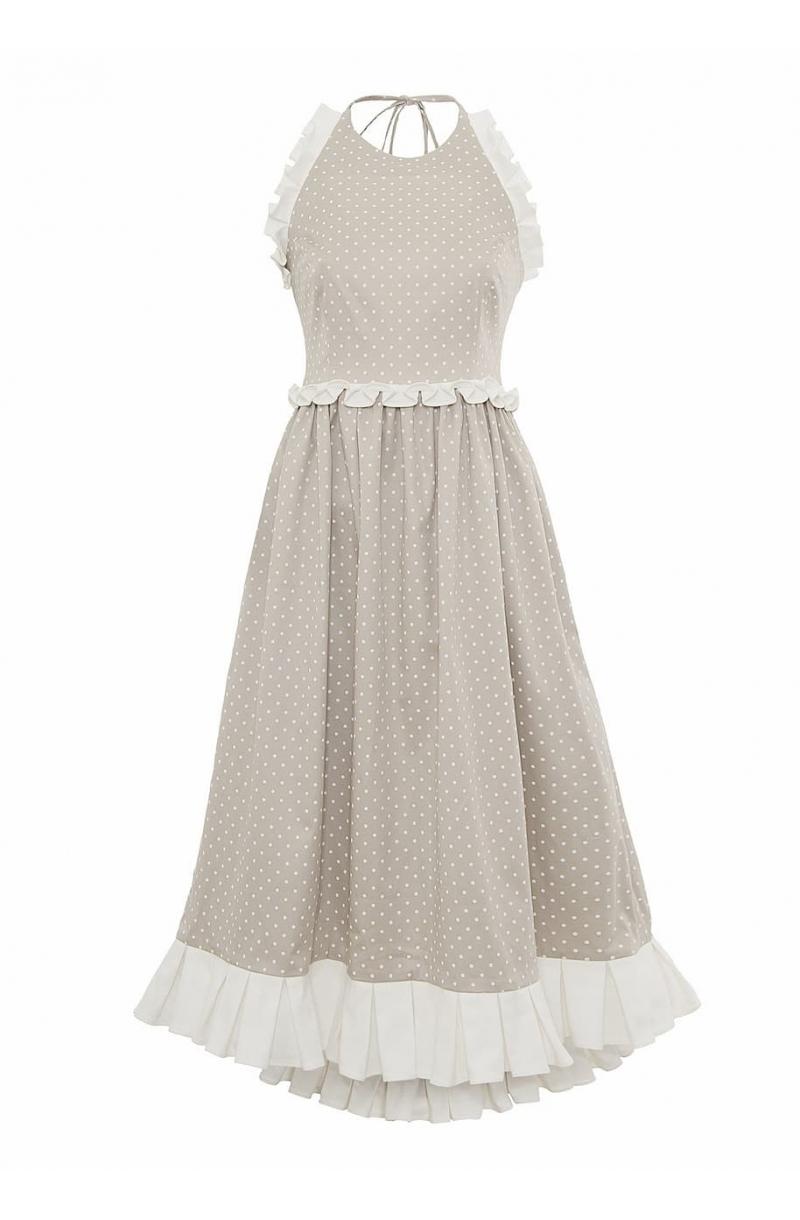 Памучна рокля с гол гръб и средна дължина на точки