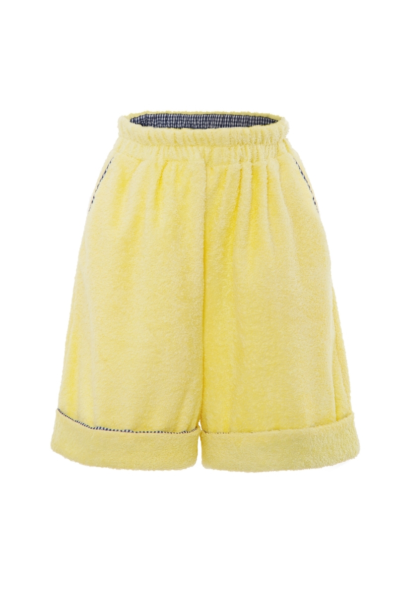 Unisex Terry cloth shorts in pale yellow