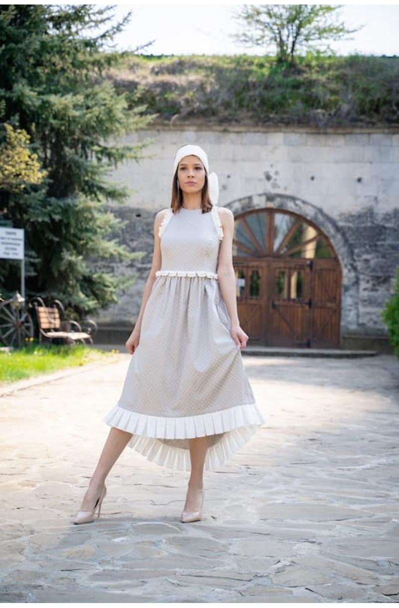 Backless cotton mid- length polka dot dress