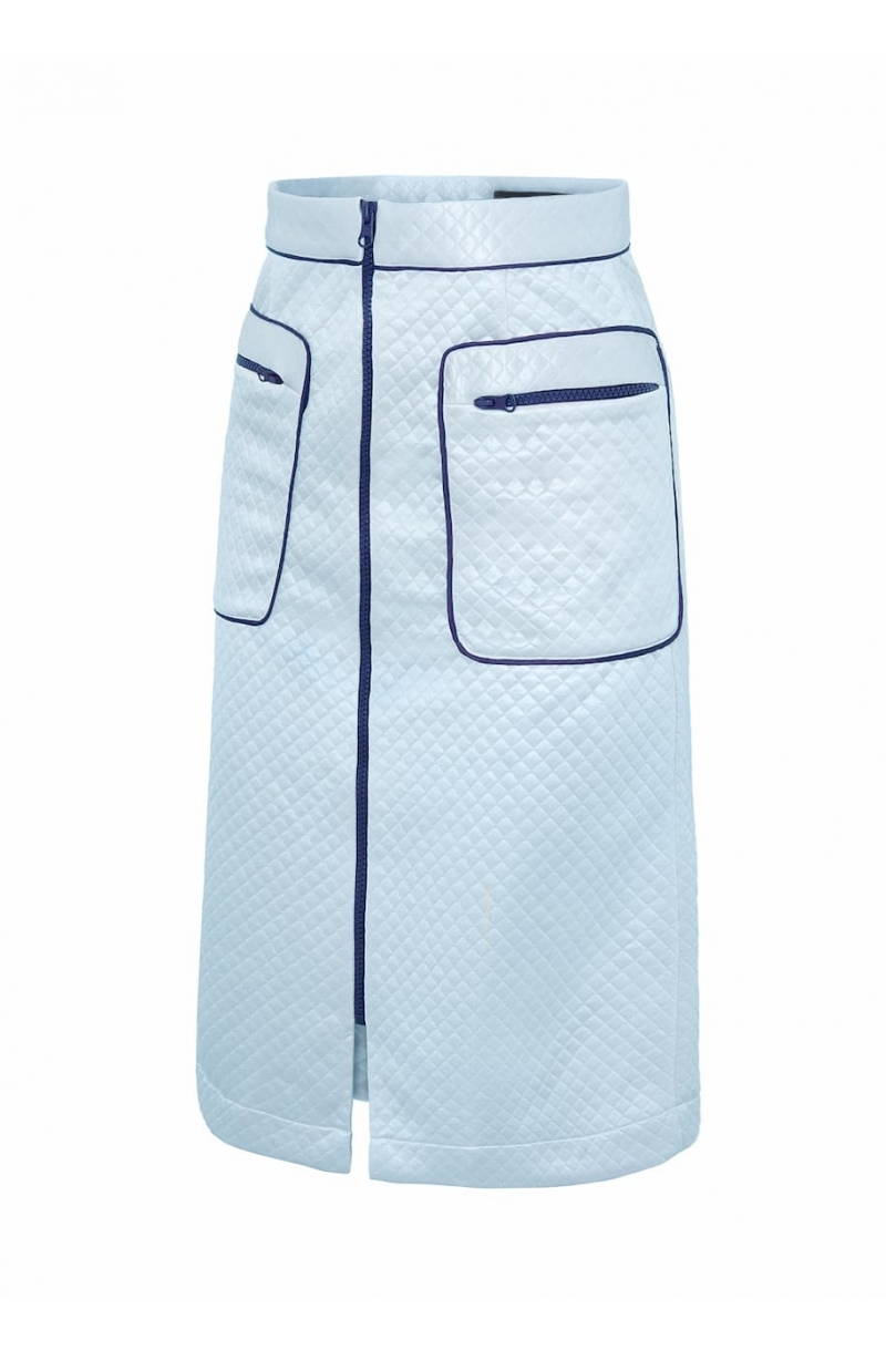 A- line mid length skirt in baby blue color