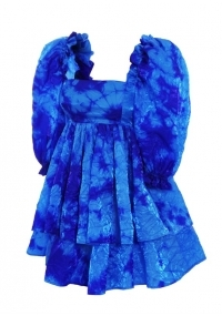 Синя къса рокля с висока талия и буфан ръкави