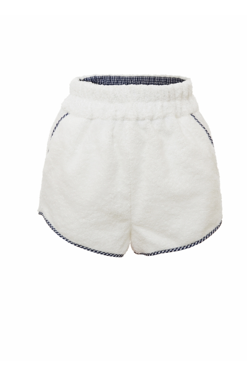 Terry cloth shorts with a retro cut in white