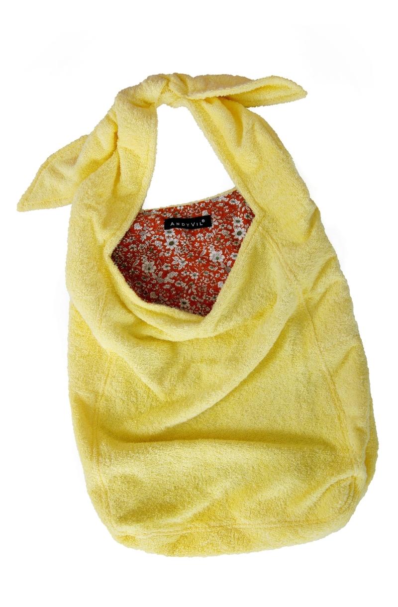 Чанта от хавлиен плат в бледо жълт цвят