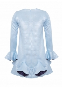 Short dress with ruffles in baby blue color