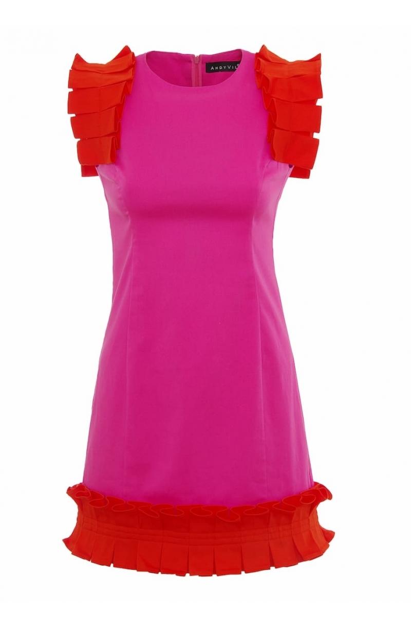 Вталена къса рокля в розов цвят
