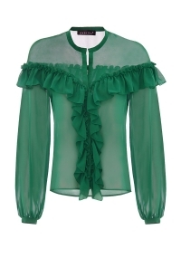 Chiffon blouse with frills in green color