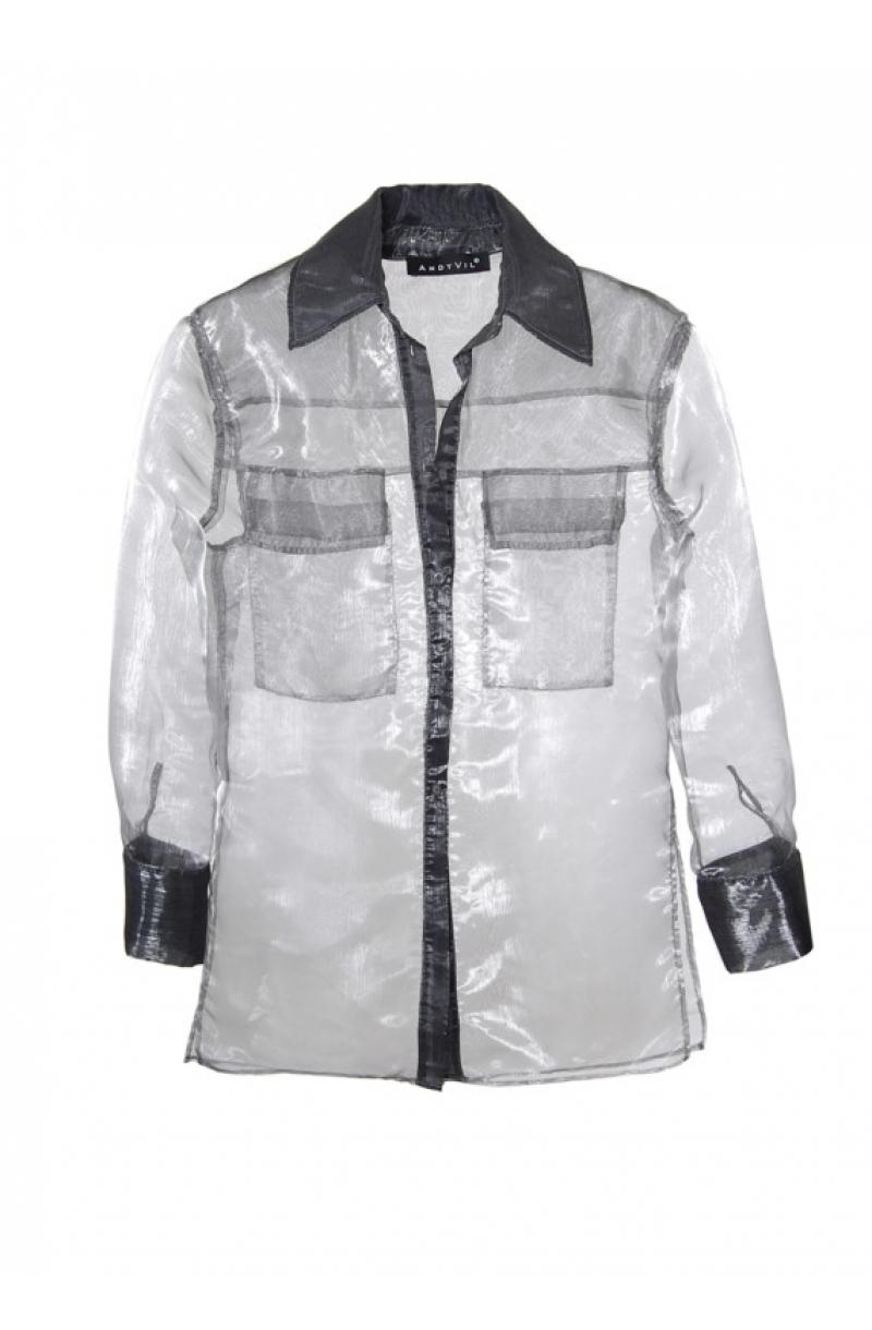 Camisa oversize de organza de color gris