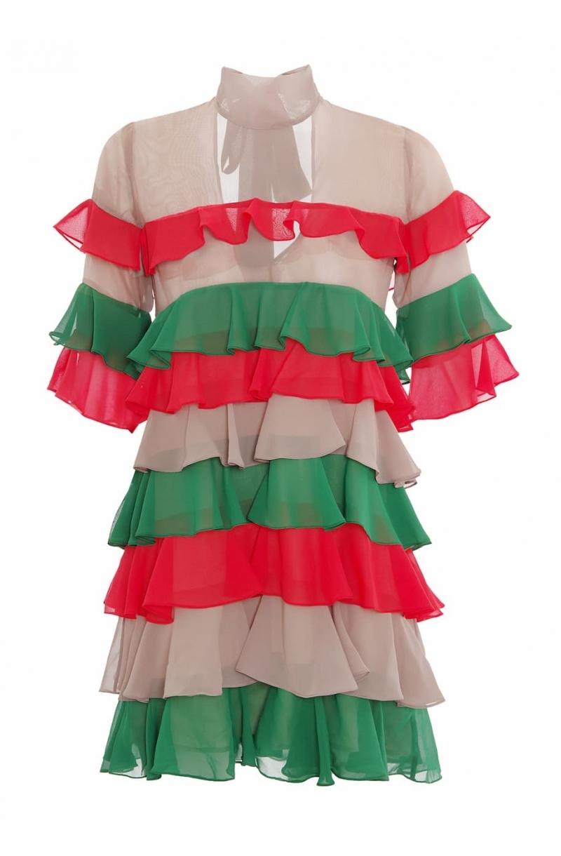 Къса шифонена рокля с волани