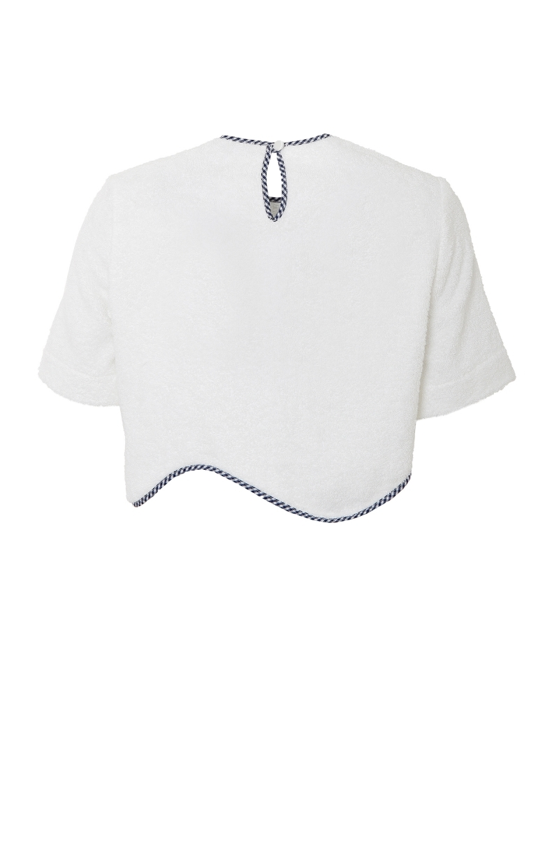 Short terry cloth blouse in white