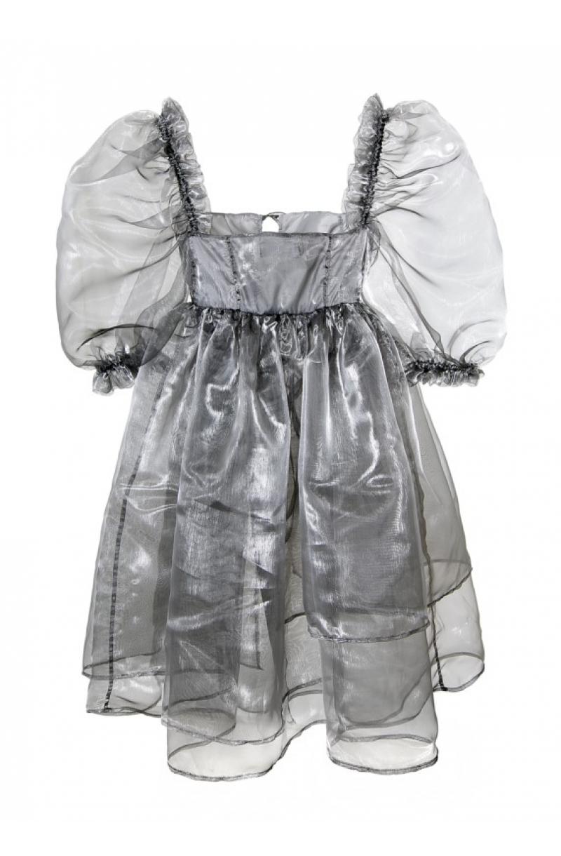 Къса рокля от органза с буфан ръкави