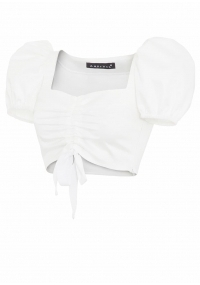 Short top with biffan sleeves in white