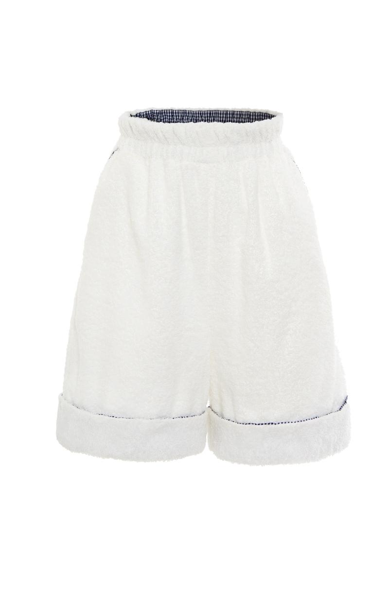Pantalones cortos unisex de toalla en color blanco