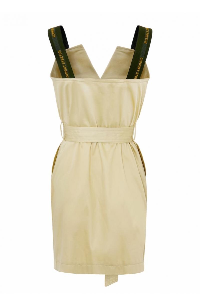 Vestido corto tipo trench con tirantes elasticos de color beige