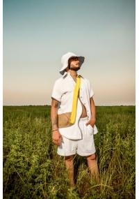 Hut aus Frottee mit Peripherie in Weiss