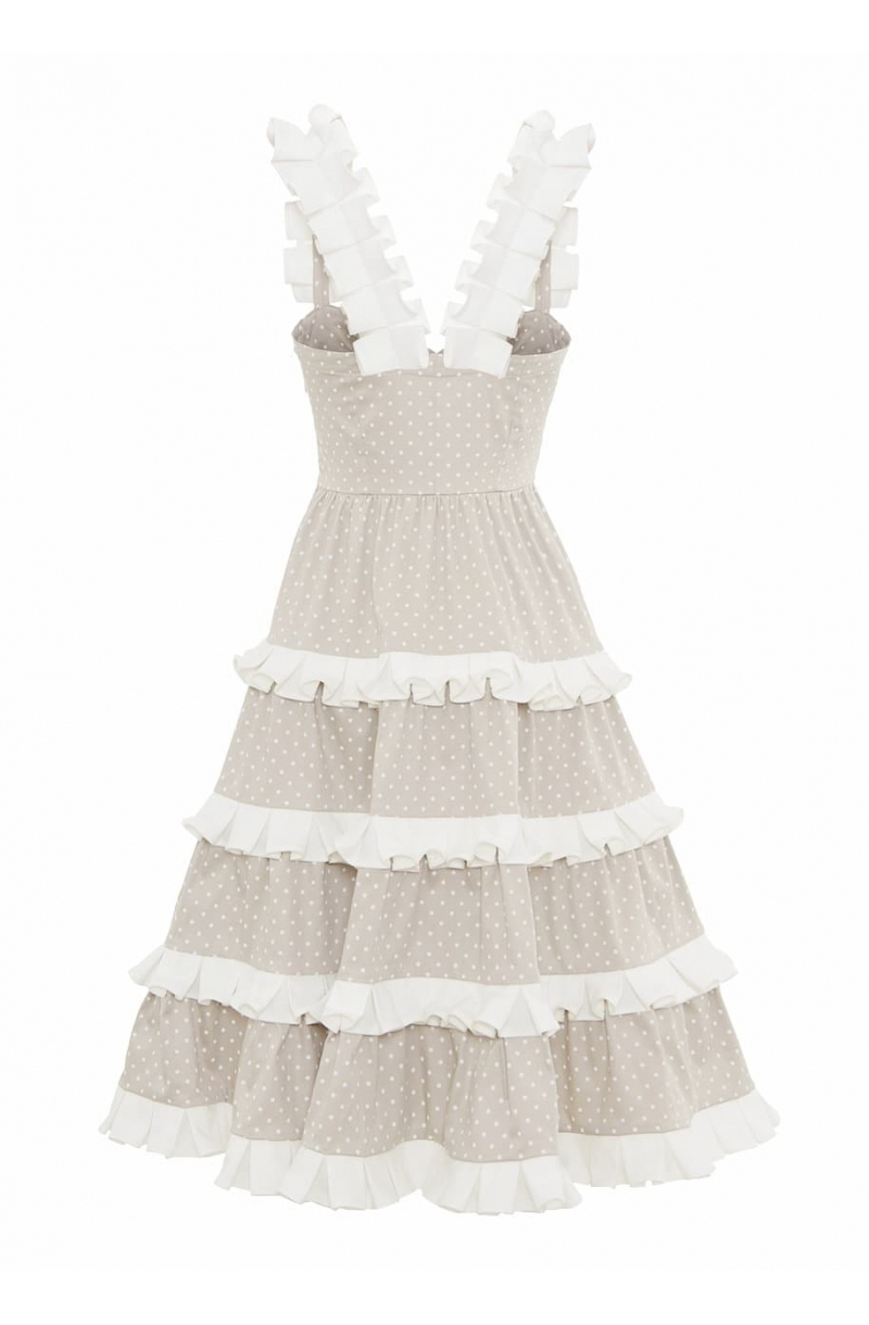 Beige mid- lengthcotton dress wih frills and pleated details